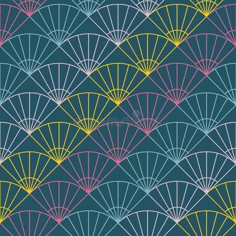 Abstract ventilatorpatroon Gebaseerd op Traditioneel Japans Borduurwerk royalty-vrije illustratie