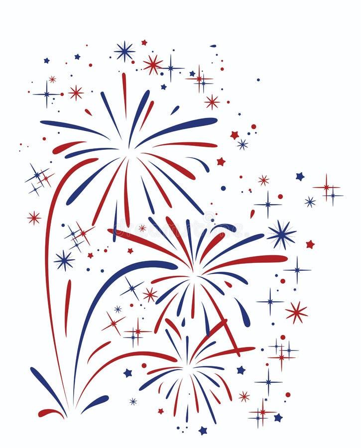 Abstract verjaardags barstend vuurwerk stock illustratie
