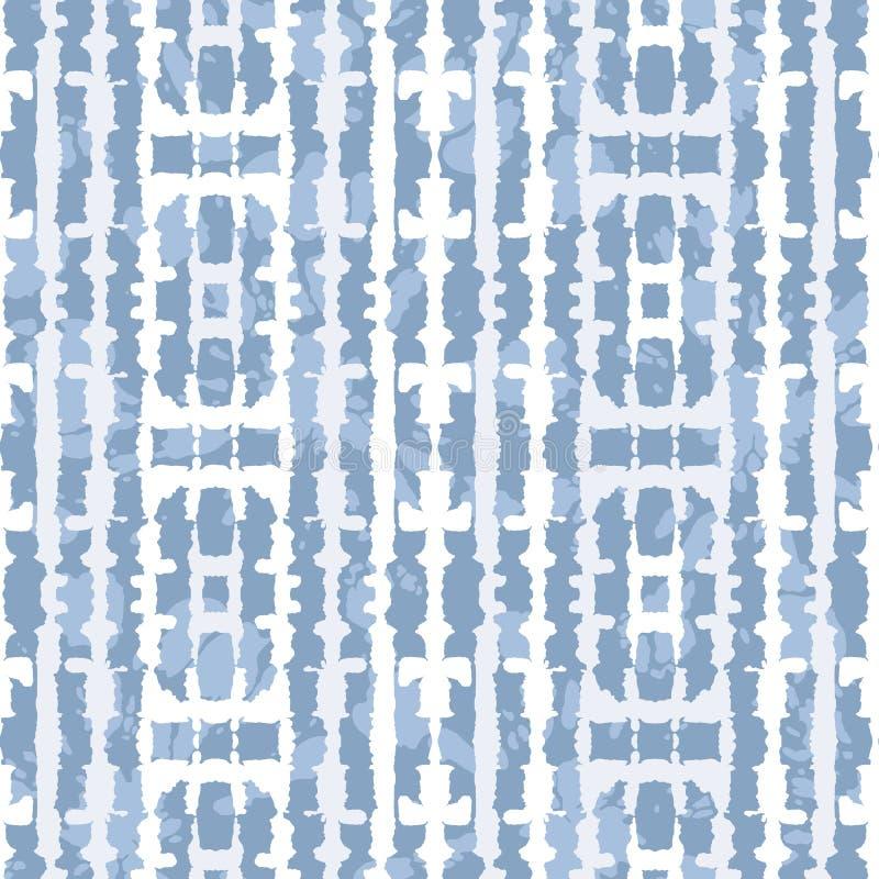 Abstract Verticaal Weerspiegeld Blauw Jean Tie-Dye Shibori Stripes op het Lichte Vector Naadloze Patroon van Indigobackrgound royalty-vrije illustratie