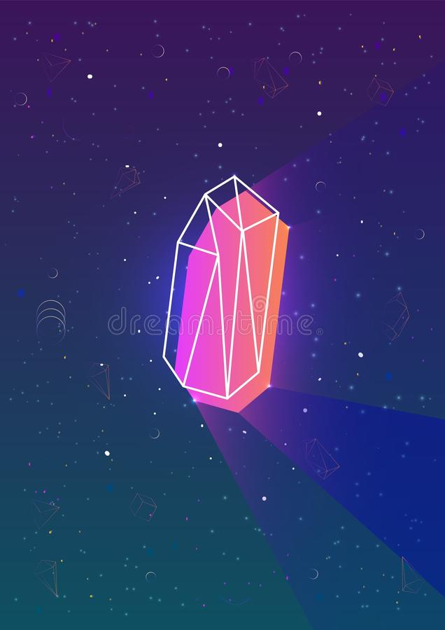 Abstract vertical backdrop with glowing neon colored polygonal geometric shape and its outline against night sky full of royalty free illustration