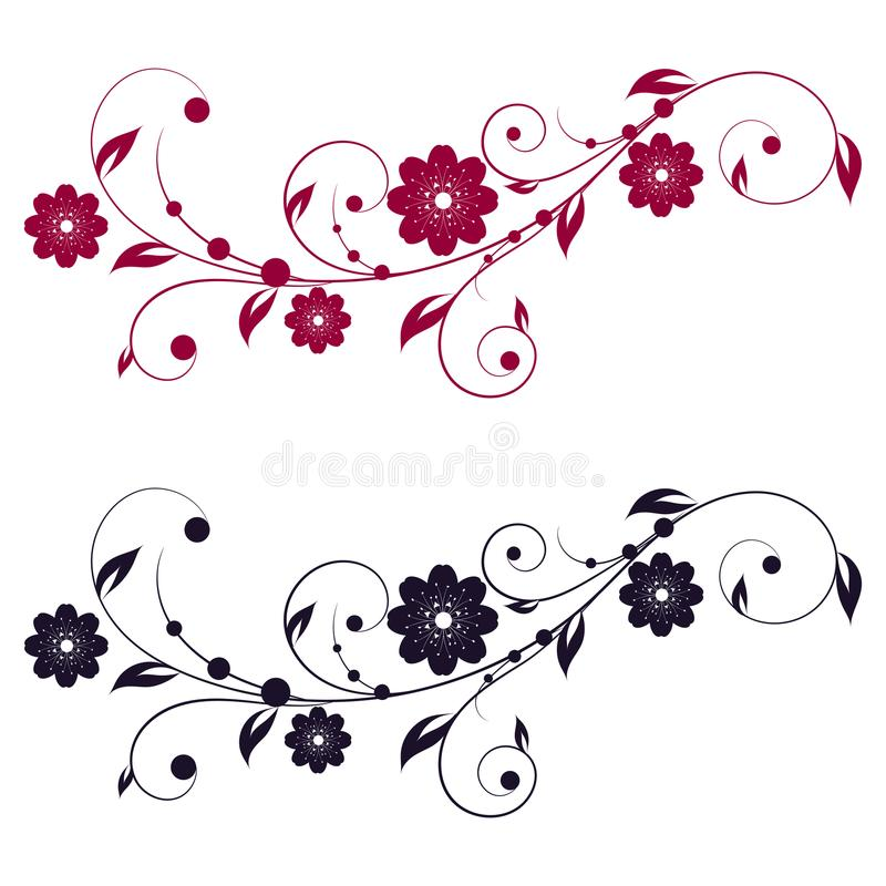 Free Abstract Vertical Floral Swirl Silhouette . Stock Photography - 102820082