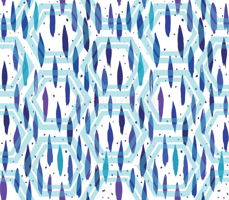Abstract vertical hand painted oval brush strokes and dots in blue tones with transparent hexagons overlay. Seamless vector vector illustration