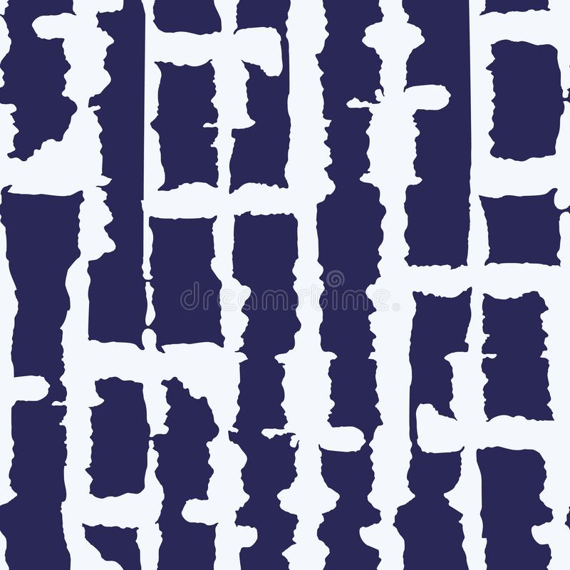 Abstract Vertical White Tie-Dye Shibori Stripes on Dark Blue Backrgound Vector Seamless Pattern. Abstract Vertical White Monochrome Tie-Dye Shibori Stripes on vector illustration