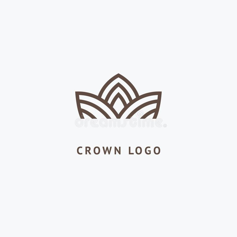 Abstract vetor crown logo vector design. Sign for beauty salon, elite accessories, jewelry, hotels, spa, wedding stock illustration
