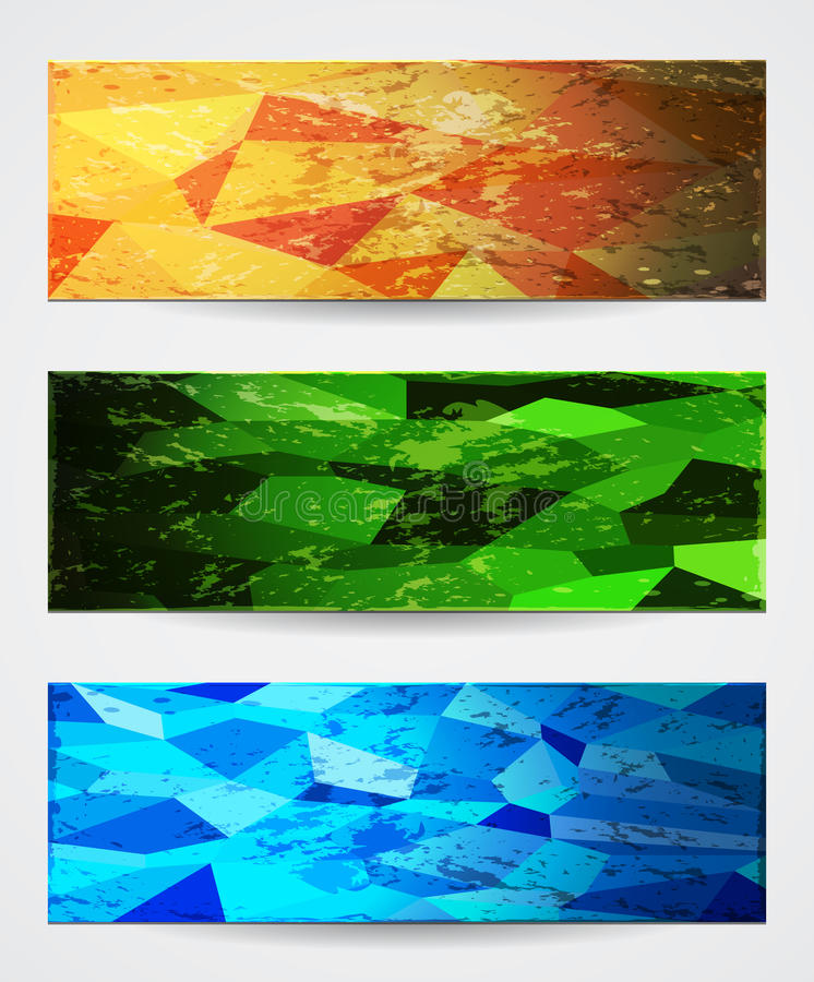 Abstract Vibrant Banners In Grunge Style. Stock Photography