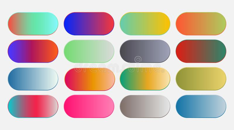 Abstract vibrant colorful gradient swatches big set vector illustration