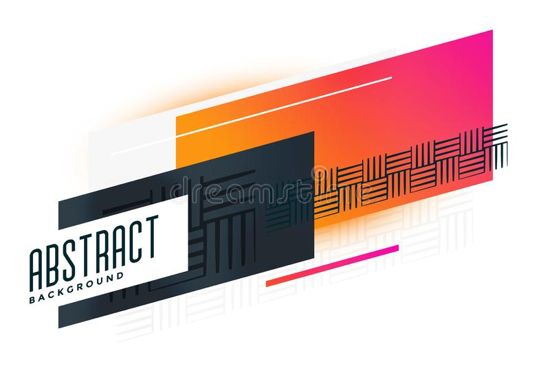 Abstract vibrant geometric banner with pattern elements stock illustration