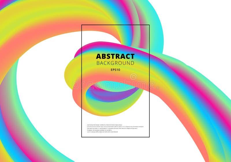 Abstract vibrant gradient color 3D fluid shape on white background. Color liquid form movement vector illustration