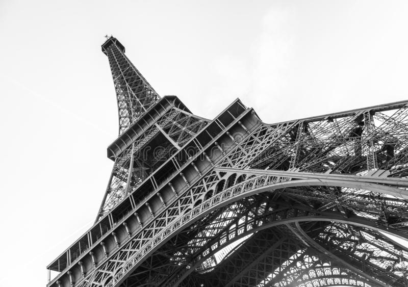 An abstract view of details of Eiffel Tower in black and white, Paris, France stock photos