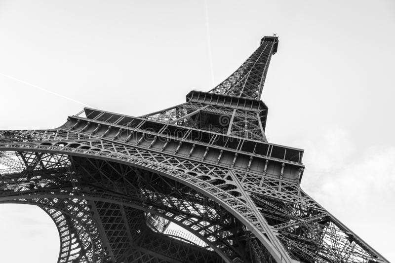 An abstract view of details of Eiffel Tower in black and white, Paris, France royalty free stock photos