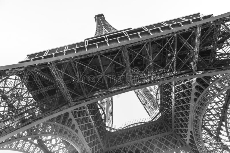 An abstract view of details of Eiffel Tower in black and white, Paris, France stock image