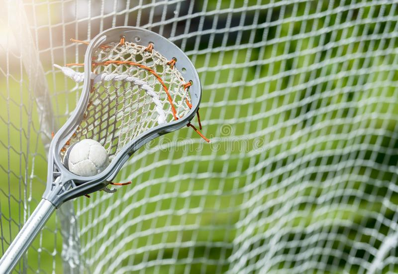 Abstract view of a lacrosse stick scooping up a ball. Sunny day stock photography