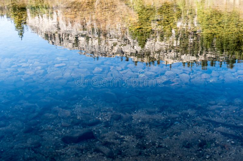 Abstract view of a mountain top scene reflected and rippled in a crystal clear lake. Abstract view of a mountain top .scene reflected and rippled in a crystal royalty free stock images