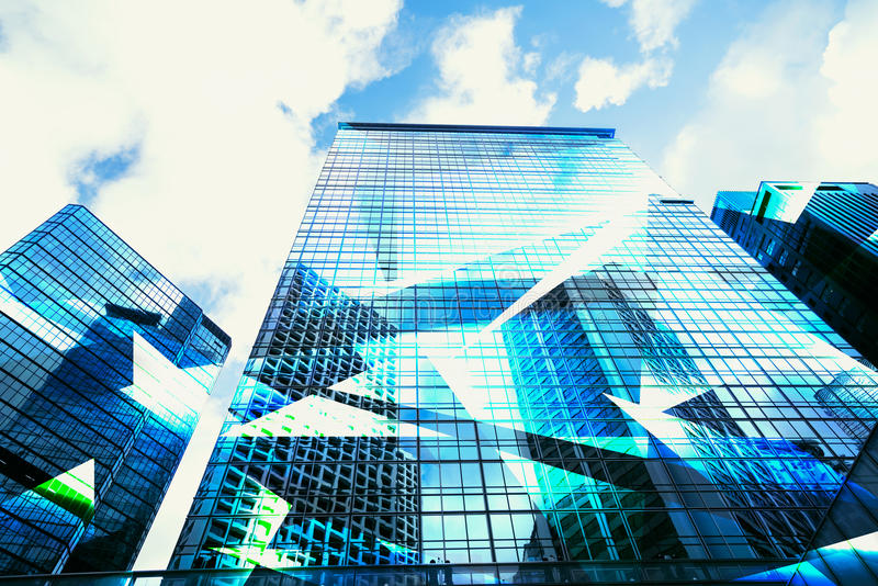 Abstract View of Urban Scene and Skyscrapers high tech business royalty free stock photo