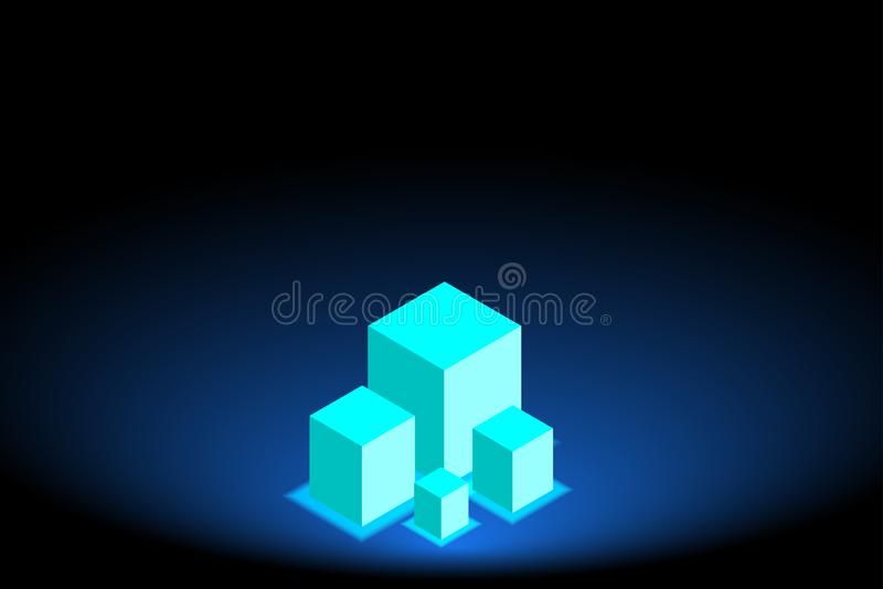 Abstract The village building came up in the midst of desolation. On Dark blue background stock illustration