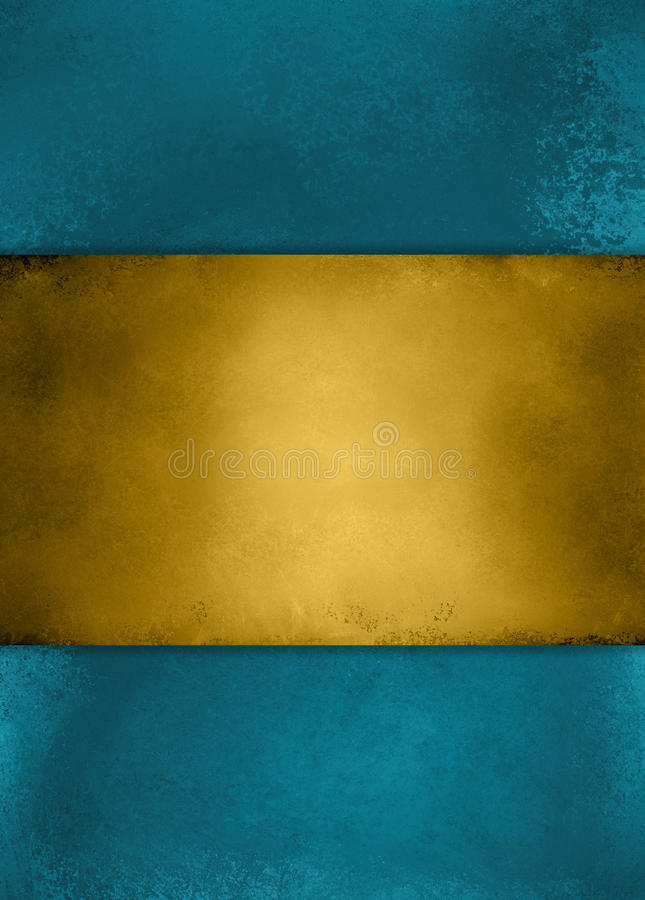 Abstract vintage blue background and gold striped center royalty free stock photography