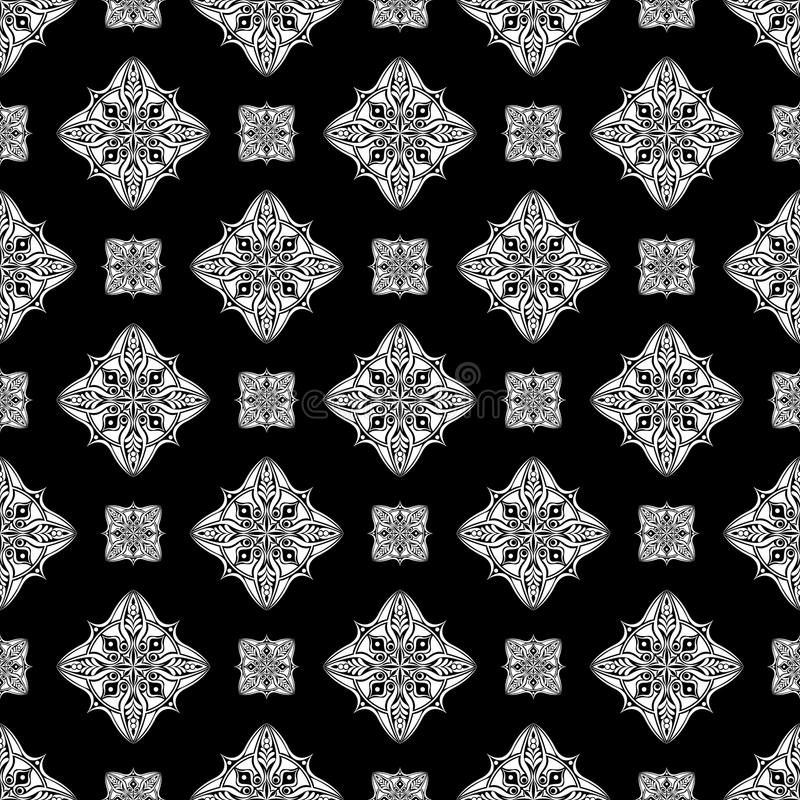 Abstract vintage chinese wallpaper pattern seamless black and white background. Vector illustration royalty free illustration