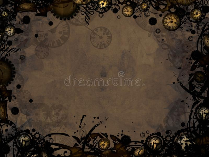 Abstract vintage clocks steampunk dark background. Abstract vintage clocks steampunk dark retro background vector illustration
