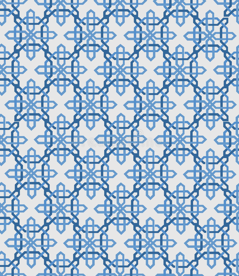 Download Abstract Vintage Geometric Wallpaper Pattern Seamless Background Vector Illustration Blue And White Colors