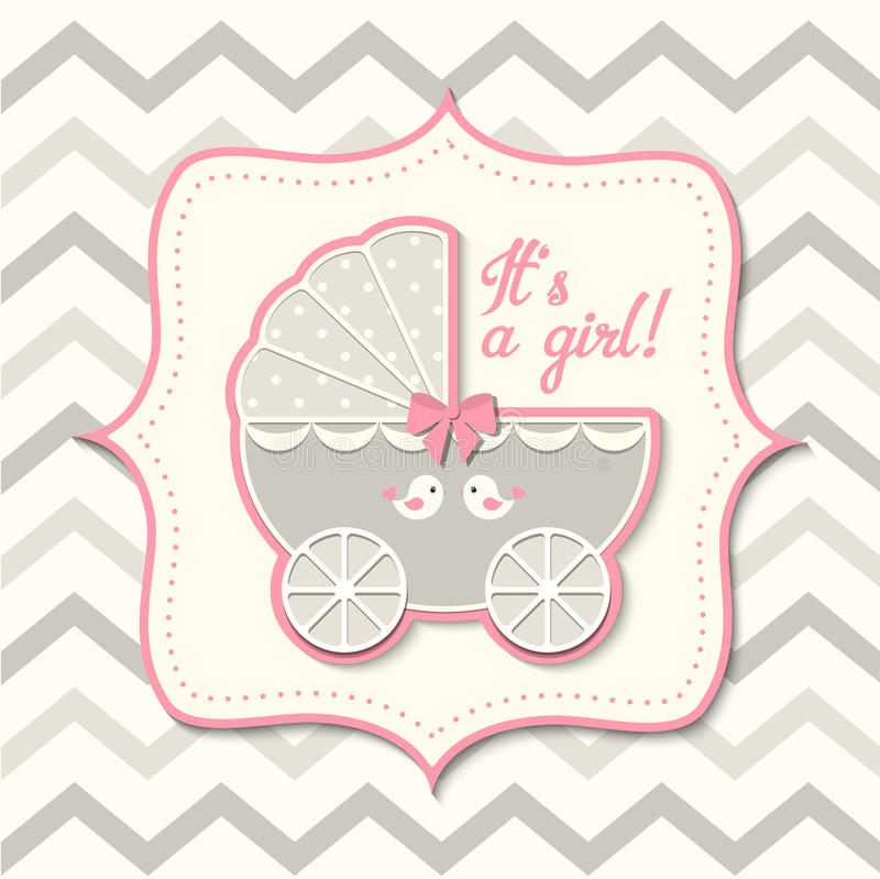 Abstract vintage girl stroller, baby shower. Gray and pink vintage stroller on abstract chevron background in srapbooking style, baby shower, vector illustration vector illustration