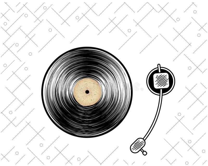 Abstract vinyl record. Retro player. Poster. Vintage style. Vector illustration stock illustration