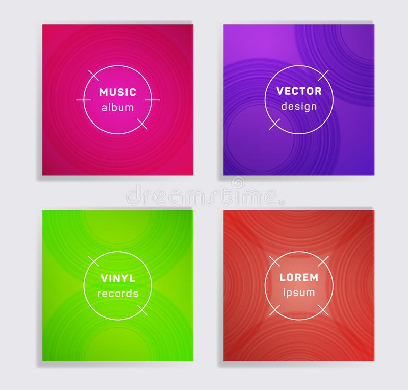 Abstract vinyl records music album covers set stock photos