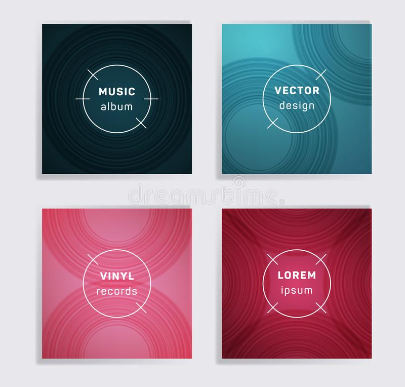 Abstract vinyl records music album covers set vector illustration
