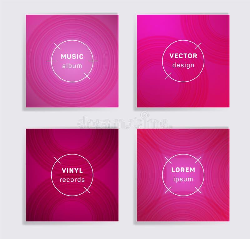Abstract vinyl records music album covers set. stock photos