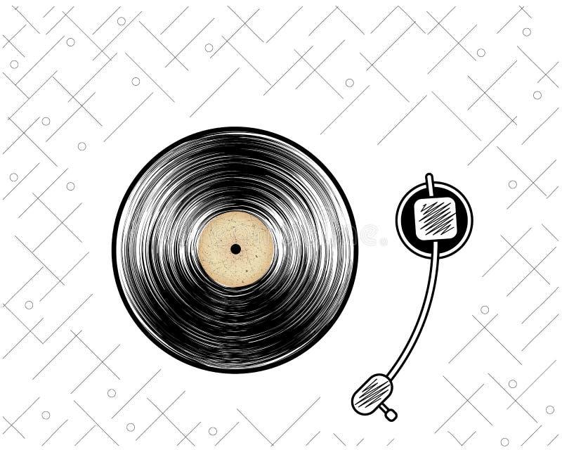 Abstract vinylverslag Retro speler affiche Uitstekende stijl Vector illustratie stock illustratie