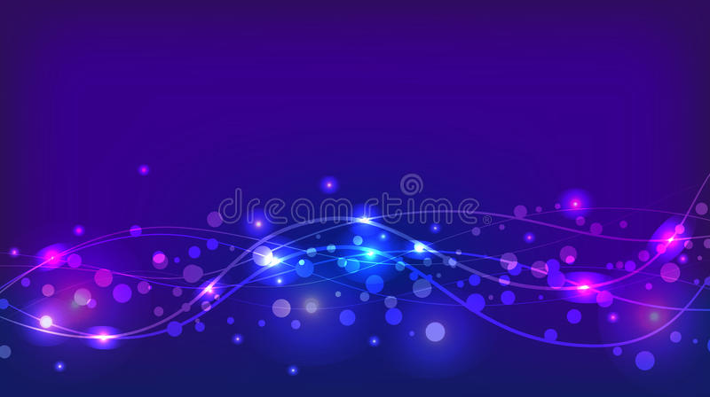 Abstract violet background with sparkles and waves vector illustration