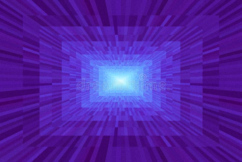 Abstract violet gradient background. Texture with rectangular blocks in perspective. Mosaic pattern Light at the end of the tunnel royalty free illustration