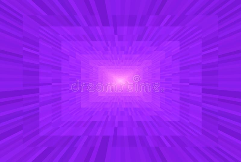 Abstract violet and pink gradient background. Rectangular blocks in perspective. Mosaic pattern Light at the end of the tunnel. Abstract violet and pink gradient stock illustration