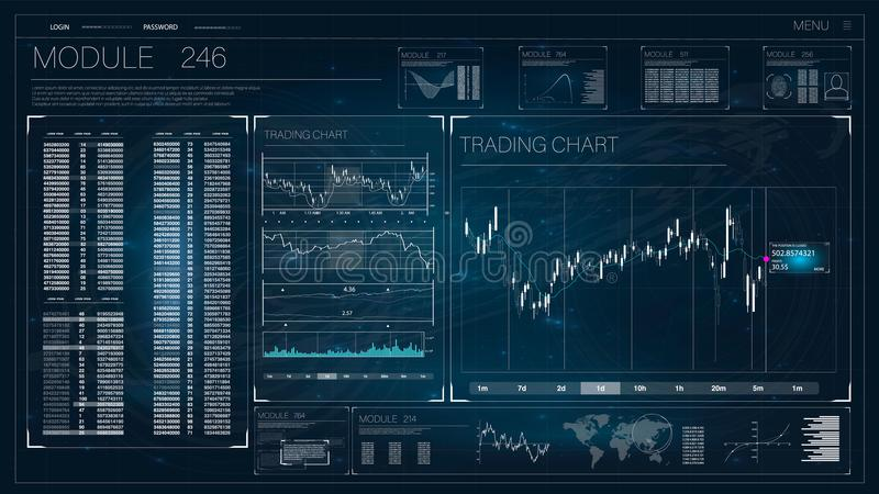 HUD UI for business app. Futuristic user interface HUD and Infographic elements. stock illustration
