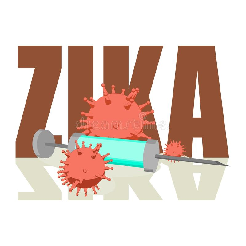 Zika desease, abstract virus models and syringe. Abstract virus image on backdrop and zika text. Zika virus danger relative illustration. Medical research theme stock illustration