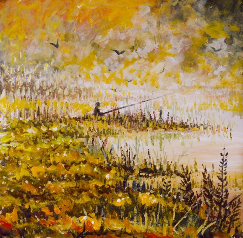 Abstract visserijolieverfschilderij Mist op geel meer Oranje gras, die in een droom vissen Een visser met een lange staaf royalty-vrije illustratie