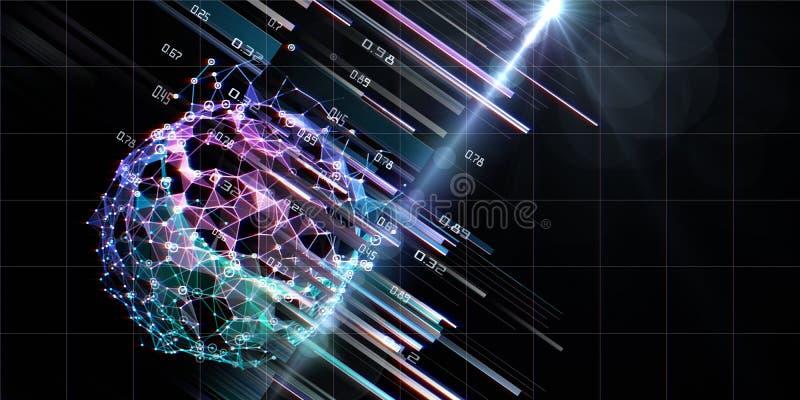 Abstract visualisatie sferische algoritmeanalysegegevens met wazig lijnen en lenseffecten AI Toekomstig technologieconcept voor stock fotografie