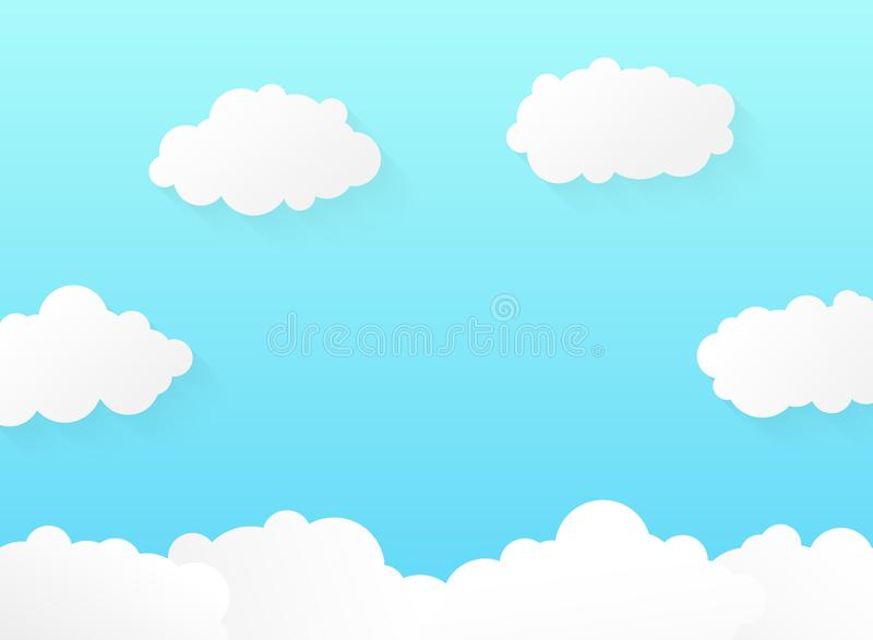 Abstract vivid gradient blue sky with soft clouds pattern design royalty free illustration