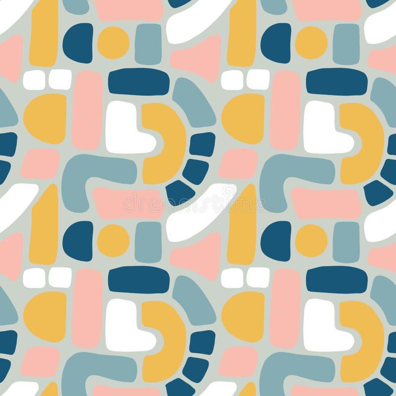 Abstract vormen naadloos vectorpatroon Blokken, witte bogen, punten in blauw, gouden, roze, Hand getrokken Textuurachtergrond Vla royalty-vrije illustratie