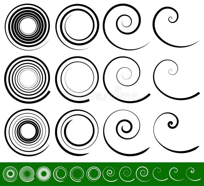 Abstract vortex, spiral elements. Geometric circular illustrat stock illustration