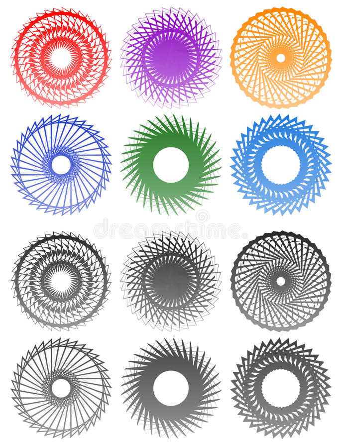 Abstract vortex, spiral elements. Geometric circular illustrat royalty free illustration