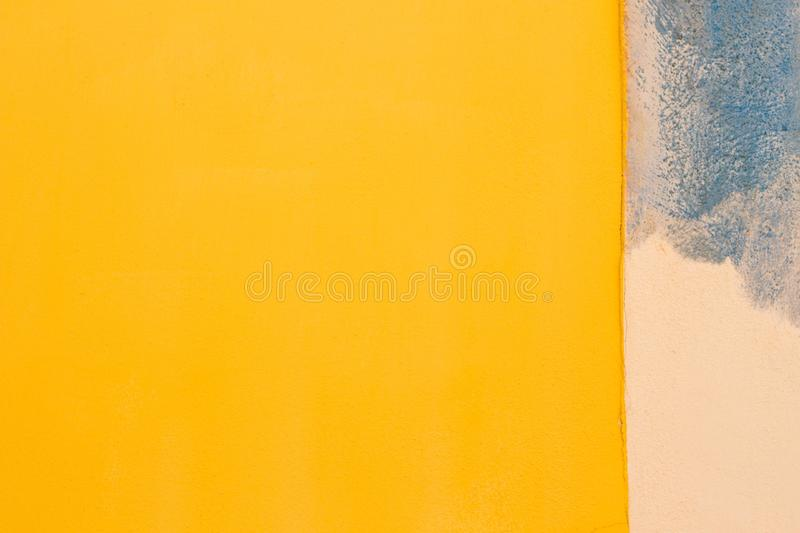 Abstract Wall Background. Colorful Yellow Wall Began To Paint With ...