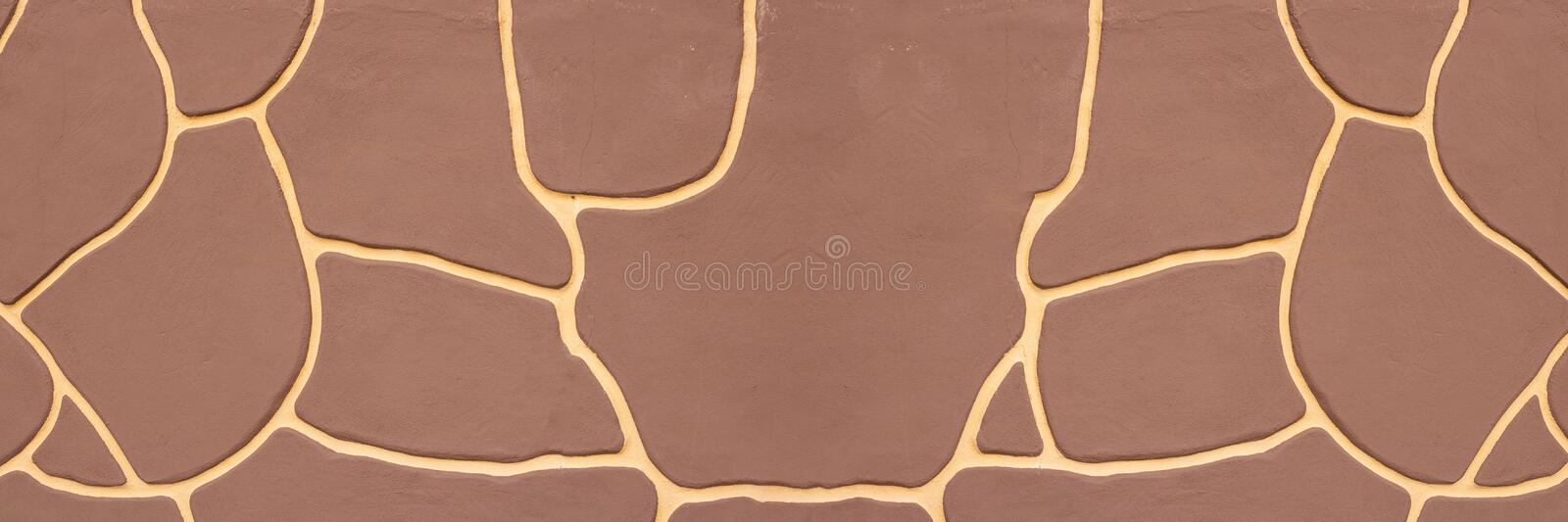 Abstract wall background, red brown color with yellow curved lines, animal print, giraffe texture. Long horizontal banner for. Creative design about nature stock image