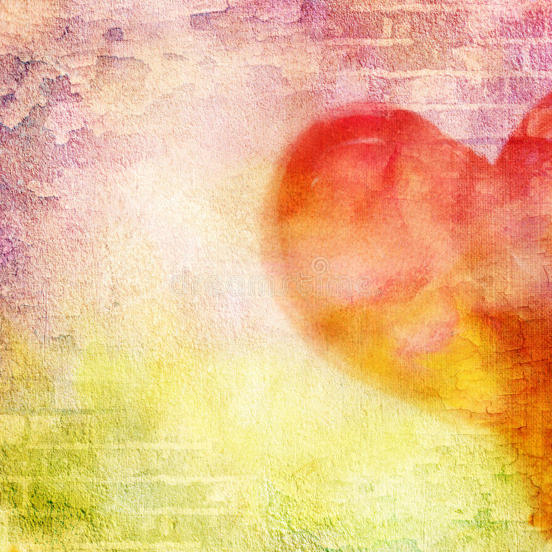 Abstract wall, brick, cracked paint and heart. Vintage background image for design photo album, photo book with grunge texture stock photography