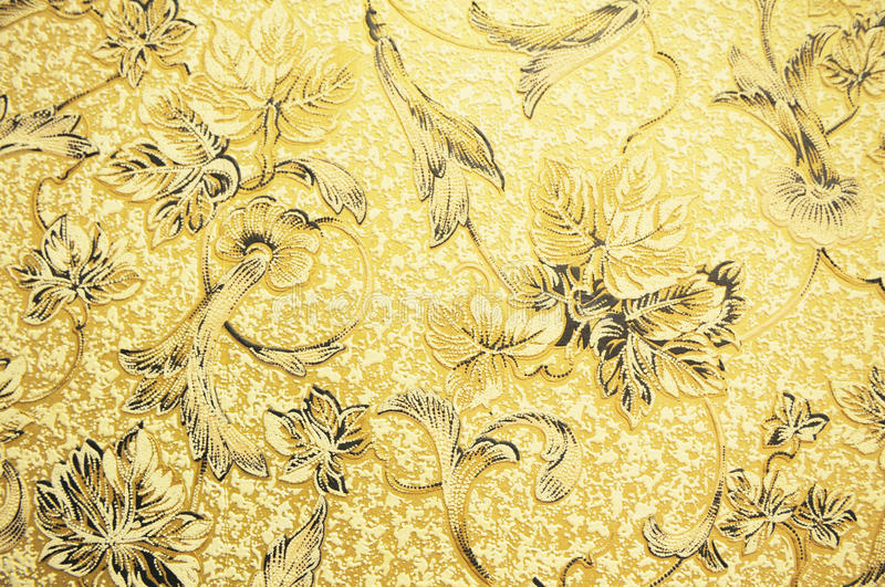 Abstract wall paper flower pattern. Golden wall paper with flower pattern stock images