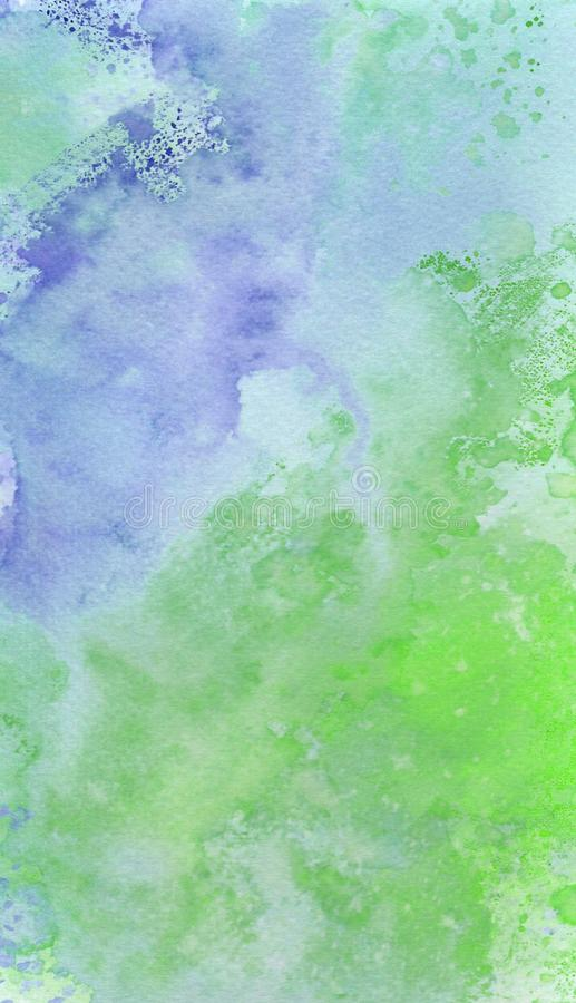 Colorful blue and green hand painted watercolour splashes abstract wallpaper background vector illustration