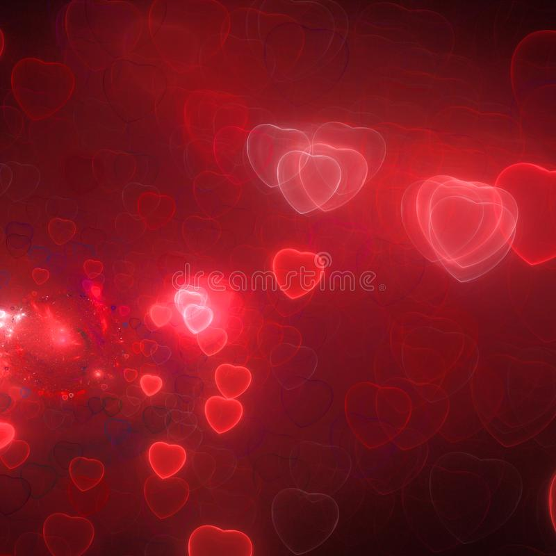 Colorful abstract fractal background with heart shapes stock image