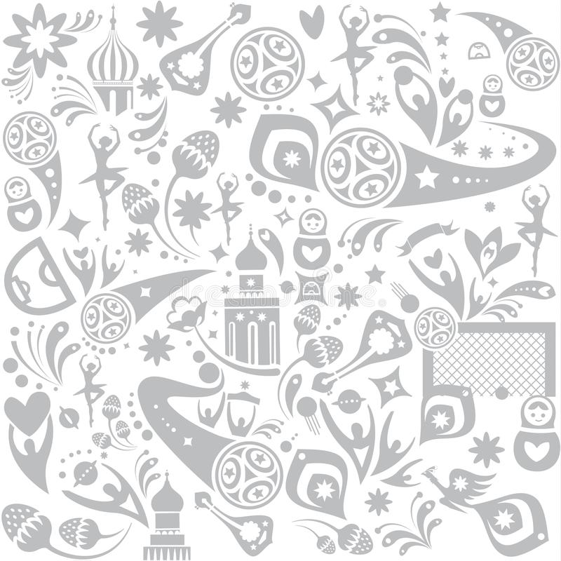Football 2018 Russia World Cup. Seamless pattern print, doodle,  template Abstract football tournament concept design banner background, dynamic texture Vector stock illustration