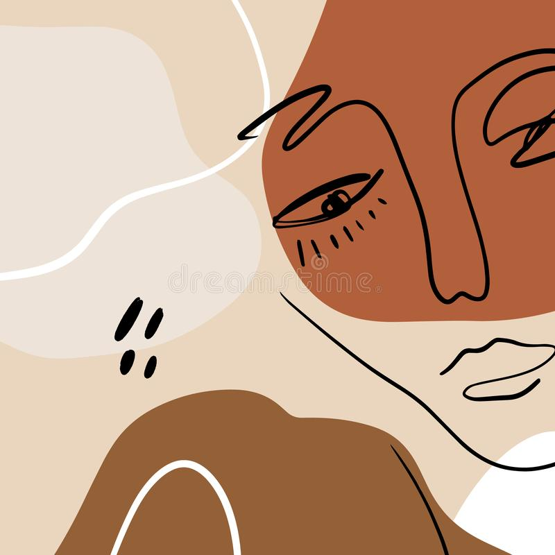Abstract Warm Terracotta Nude Color Shapes Interior Poster Fashion Artistic Portrait Painted Illustration Face Silhouette Line vektor abbildung