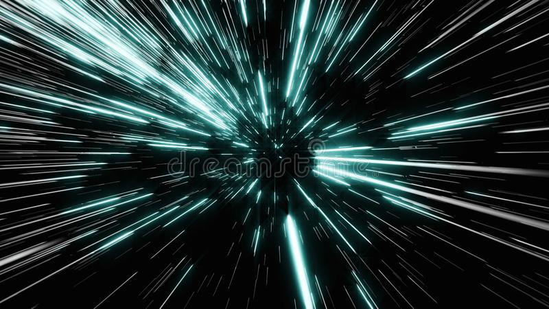 Abstract of warp or hyperspace motion in blue star trail.  stock photos