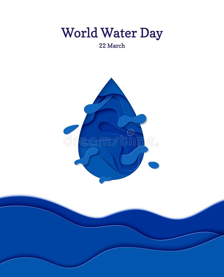 Free Abstract Water Drop In Cut Paper Style. Cutout Sea Wave Template For For Save The Earth Posters, World Water Day, Eco Stock Image - 156883861